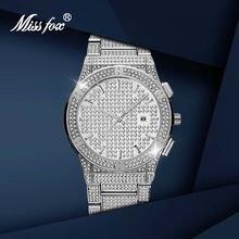 Большие серебряные мужские часы missfox кварцевые с бриллиантами