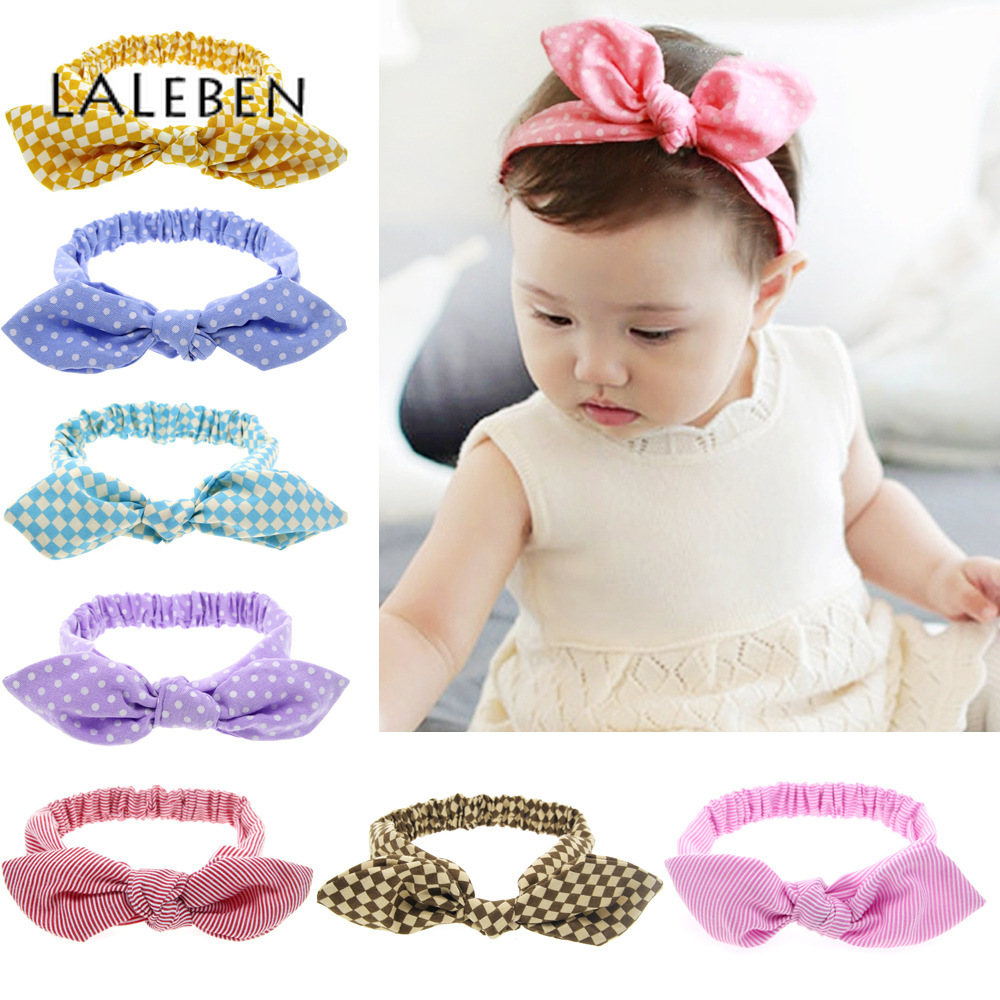 Spring Kid Headwear Turban Bow Dot Rabbit Ear Hair Band Cotton Spandex Newborn Headband Baby Girl Hair Accessories