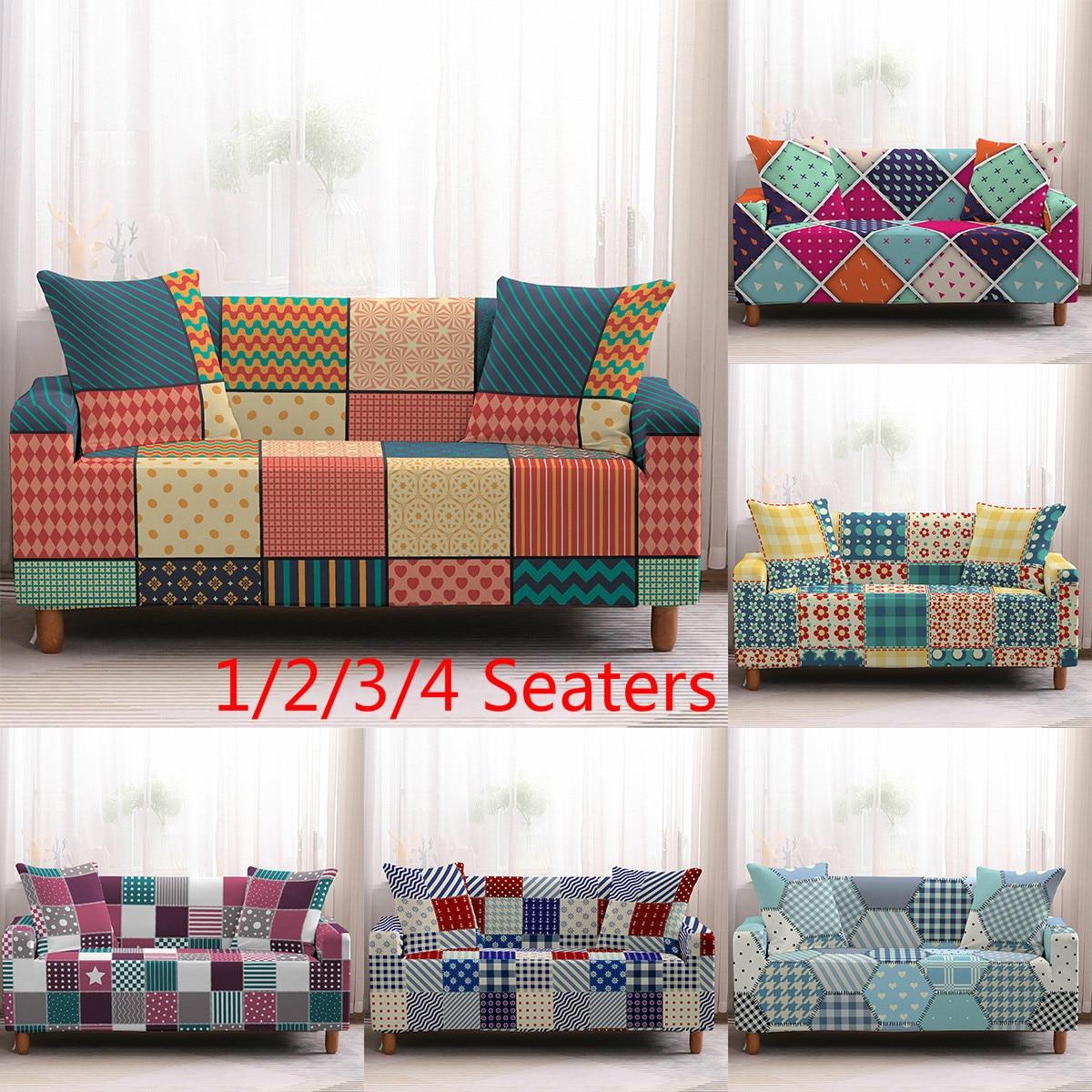 Геометрические эластичные чехлы для диванов из спандекса, плотные чехлы для диванов, все включено, чехлы для диванов для гостиной, секционные чехлы для диванов, Любовное сиденье|Покрывало на диван|   | АлиЭкспресс