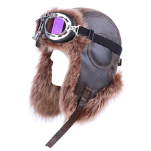 Vintage Bomber Hat with Goggle Faux Fox Fur Leather Russian Ushanka Hats Plush Pilot Aviator Trapper Winter Earflap Snow Ski Cap