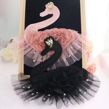 2 шт. розовый черный 3D шифон Лебедь жемчуг патч для одежды футболка DIY бисерная аппликация аксессуары декоративная заплатка HB56