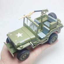 Моделирование 1:24 военная модель автомобиля из сплава Уиллис, звук и свет оттяните назад Подарочный металлический внедорожный автомобиль модель