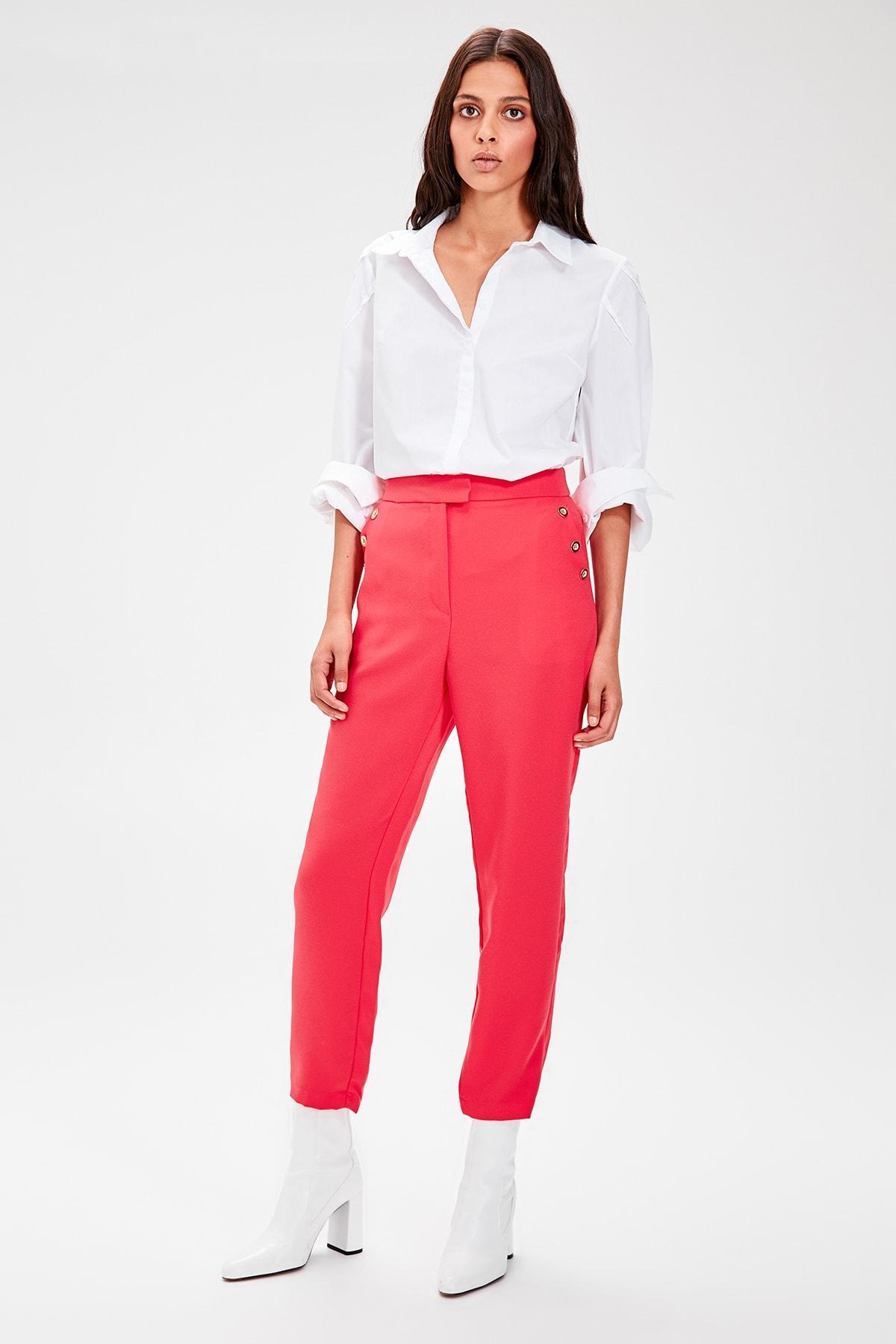 Trendyol Pink Button Detail Pants TWOAW20PL0074