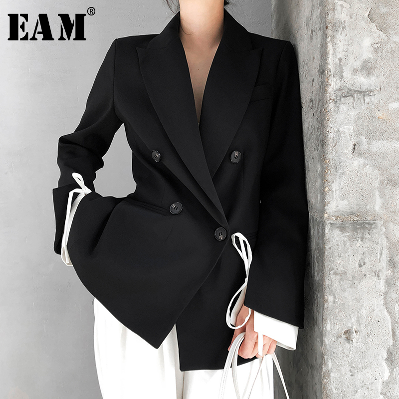 [EAM]  Women Black Cuff Bandage Temperament Blazer New Lapel Long Sleeve Loose Fit  Jacket Fashion Tide Spring Autumn 2020 1T476