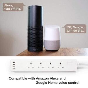 Image 5 - WiFi inteligentna listwa zasilająca ochronnik przeciwprzepięciowy UK gniazdka wtykowe 6ft przedłużacz zdalnego sterowania Tuya Smartlife Alexa Google Home