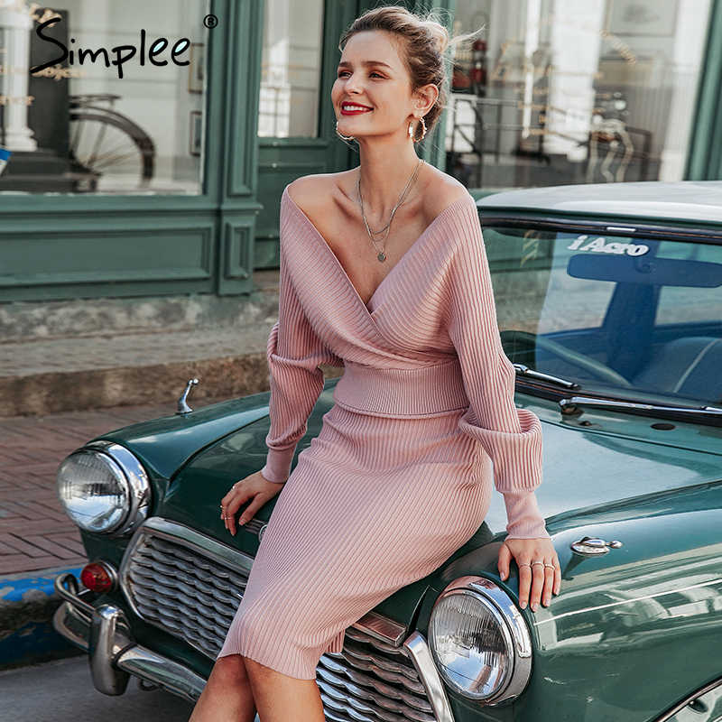 Simplee เซ็กซี่ V คอผู้หญิงถักชุดกระโปรงฤดูใบไม้ร่วงฤดูหนาว Batwing แขน 2 ชิ้น Elegant PARTY หญิงเสื้อกันหนาวสีชมพู