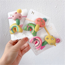 Kids Children Girls Elastic Hair clips Bands Sets Korean Cartoon Mushroom Cute Fall Winter Head wear Rainbow Accessories-SWD-W7