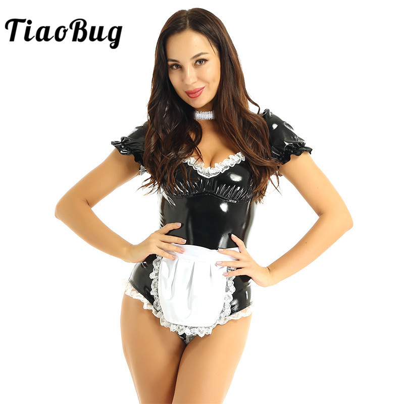Women <font><b>Halloween</b></font> <font><b>Sexy</b></font> Cosplay French Maid Costume Square Collar Puff Sleeve Patent Leather Bodysuit with Lace Choker Apron Outfit image