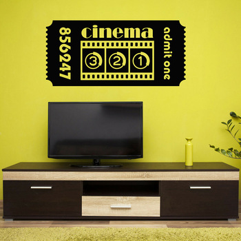 Ticket Cinema Vinyl Wall Decal Movie Cinematography Room Film Wall Stickers Gaming Room Home Decoration For Living Room W155 image