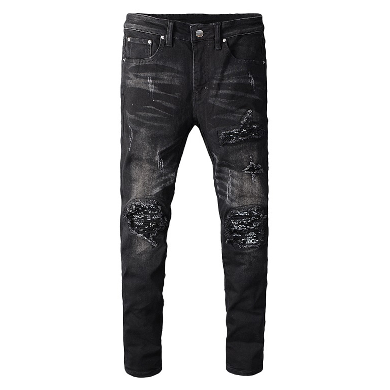 Sokotoo Men's Black Bandanna Paisley Printed Patchwork Biker Jeans Slim Skinny Pleated Stretch Denim Ripped Pants