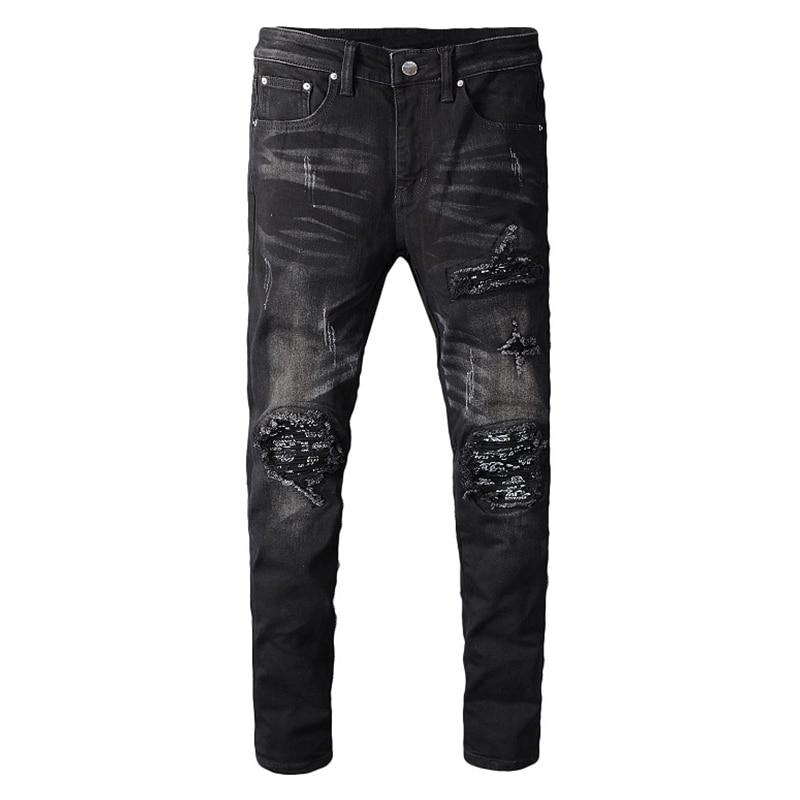 Sokotoo Men's Black Bandanna Paisley Printed Patchwork Biker Jeans Slim Skinny Pleated Stretch Denim Ripped Pants