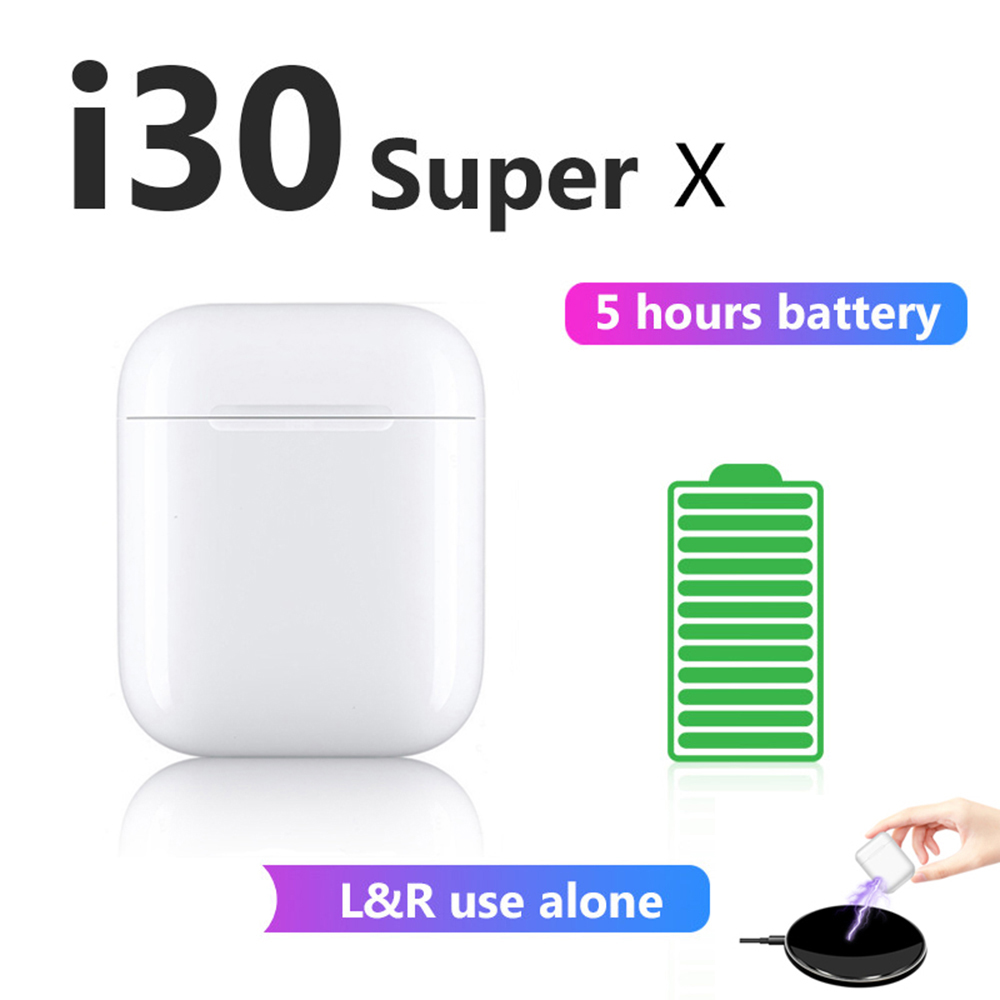 i30 Super X XS <font><b>TWS</b></font> <font><b>5</b></font> Hours Play Wireless Earphone Bluetooth Earphones 6D bass Earbuds PK W1 Chip i30 i12 i11 i10 i9s i7s <font><b>TWS</b></font> i30 image