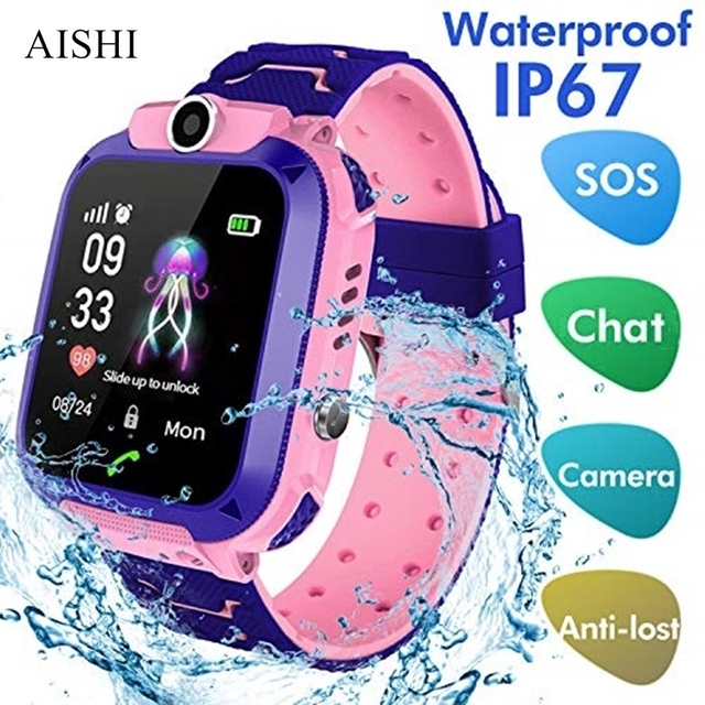 AISHI Q12 เด็กสมาร์ทนาฬิกาSOS Smartwatchสำหรับเด็กSIM Cardกันน้ำIP67 สำหรับIOS Android VS s12 Q12B