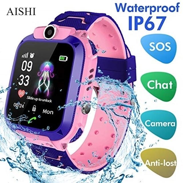 AISHI Q12 enfants montre intelligente SOS téléphone montre Smartwatch pour enfants carte Sim Photo étanche IP67 pour IOS Android VS S12 Q12B