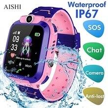 Aishi Q12 子供スマートウォッチsos電話腕時計スマートウォッチ子供のためのsimカード写真防水IP67 iosアンドロイドvs s12 Q12B