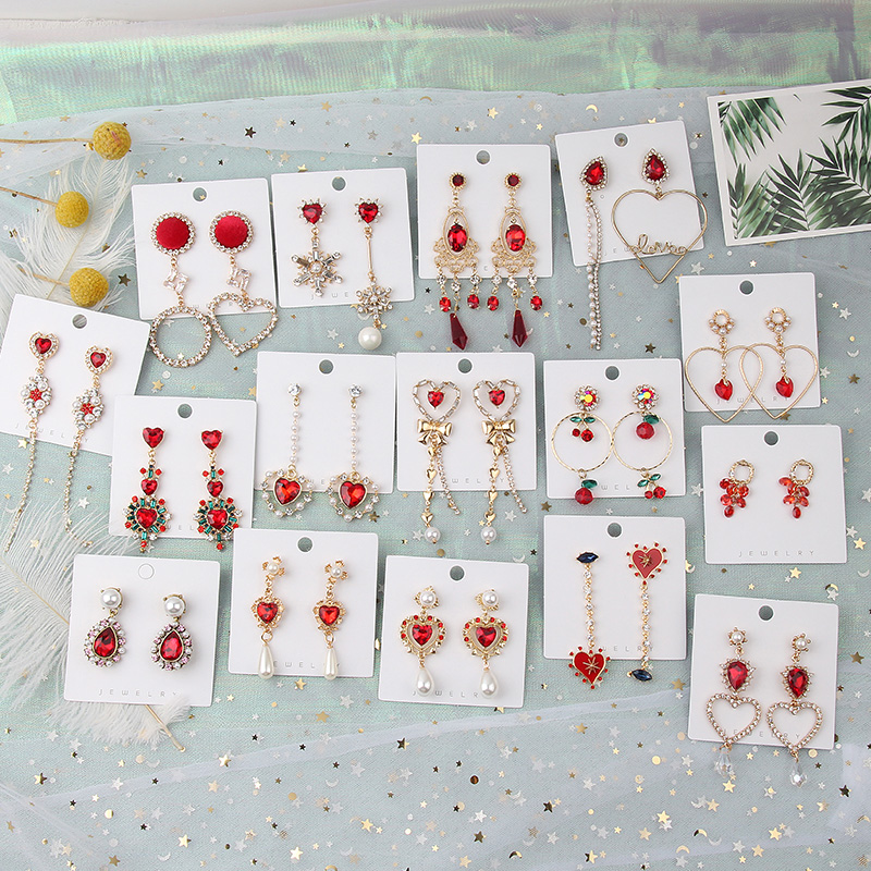 H8b1384d7e33e462d96a24a0c3359835dQ - 2019 New Hot Sale 20 Style Red Fashion Korean Elegant Geometric Dangle Earrings for Women Cute Pendant Mujer Jewelry