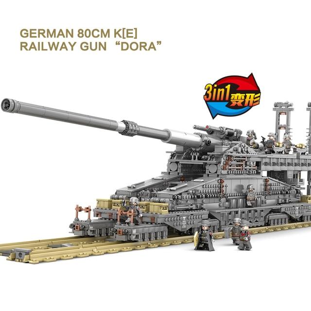 KAZI KY10005 3846 sztuk duża walka wojskowa legoes klocki niemcy 800 mm ciężki Gustav pociąg pistolet dorosłych dzieci zabawki prezentowe