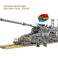 KAZI KY10005 3846pcs Large Military fight legoes building blocks Germany 800 mm Heavy Gustav train gun adult children gift toys