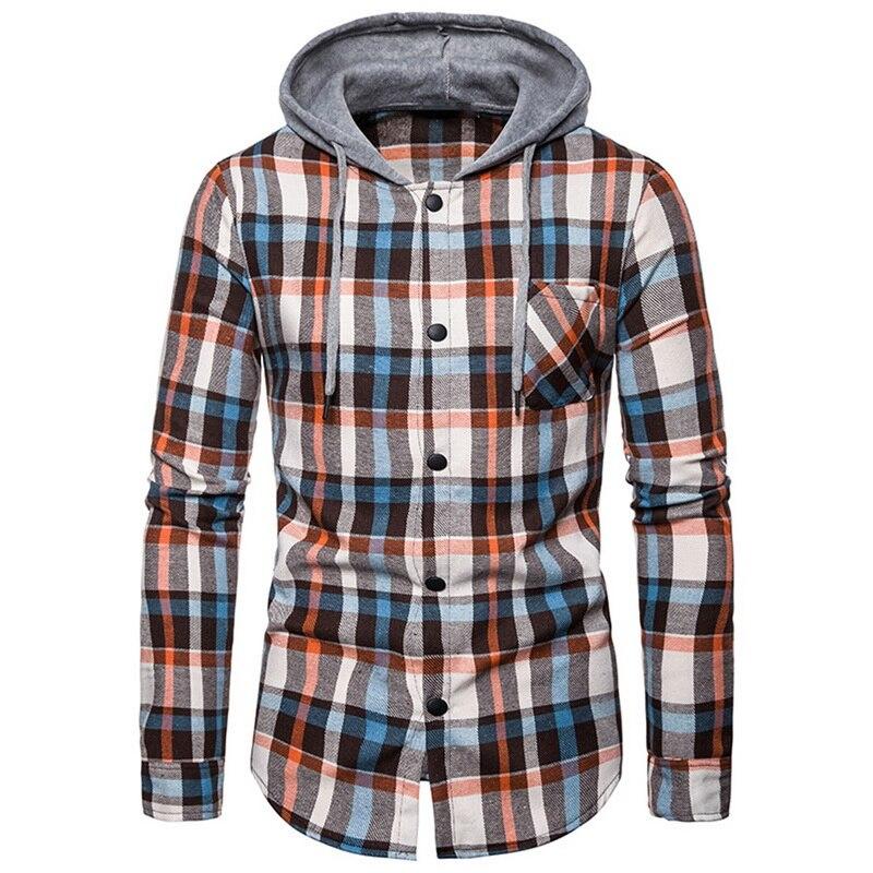 Men Shirt Femme 2019 Hoodies Tracksuit Men's Autumn Casual Plaid Shirts Long Sleeve Pullover Shirt Top Hooded Blouse Sportswear
