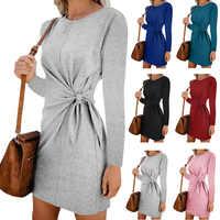 Vestido z długim rękawem sukienka na co dzień jesień szata courte vestidos mujer jesień kleider damen festa curto dames jurken sukienki ubrania