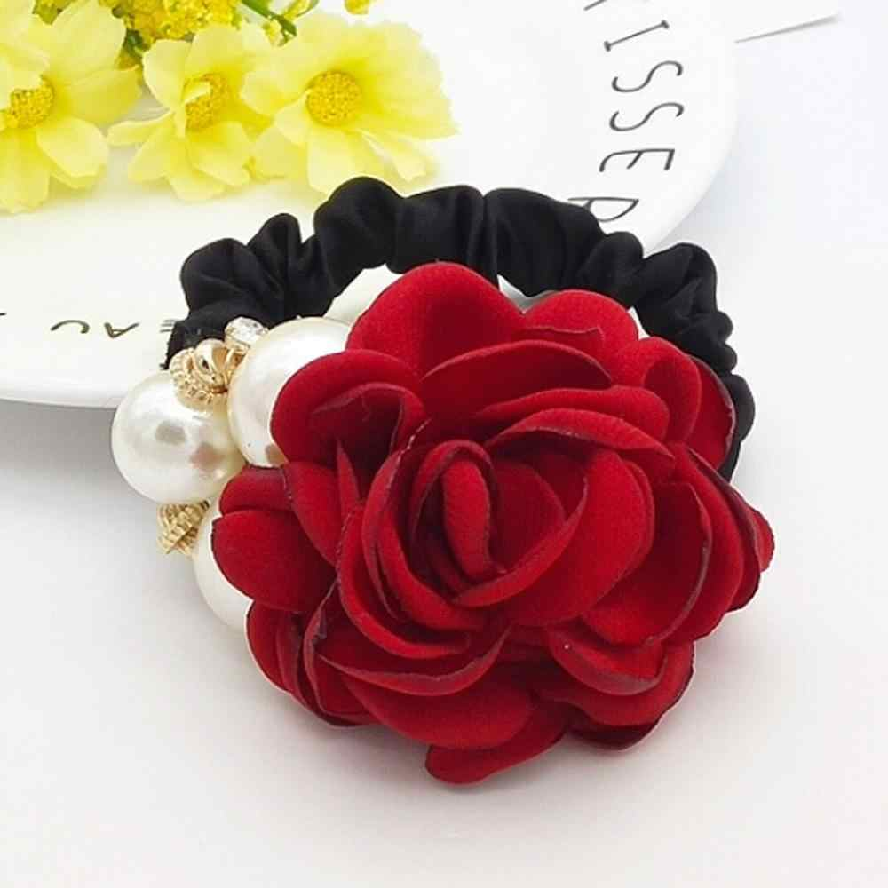 7 Color Style Big Rose Flower Pearl Rhinestones Elastic Hair Rope Scrunchies Ring Ponytail Holder Hair Accessories Women Girls#D