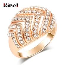 Kinel panny młodej zaręczyny pierścienie dla kobiet złoty kolor wygląd w stylu Retro duże owalne austriackie kryształowy pierścień w stylu Vintage biżuteria 2019 nowy