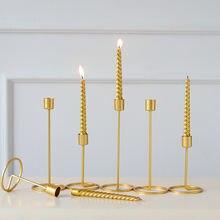 Металлические подсвечники простые золотые для свадебной вечеринки