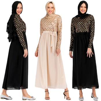 Musulmán lentejuelas Abaya Dubai Vestido árabe pavo Kaftan mujeres caftán marroquí Robe musulmán Vestido de cóctel femenino Islámico de Dubai