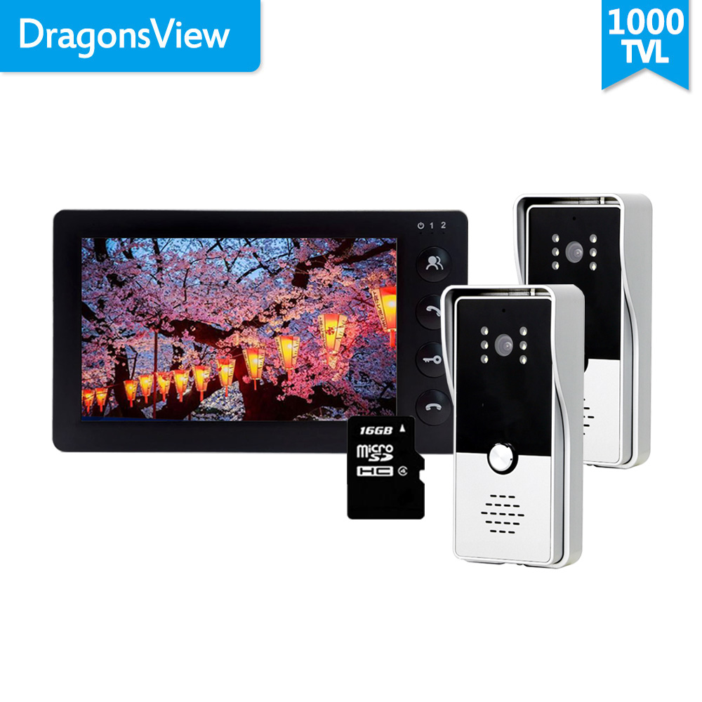 Dragonsview 7 Inch Video Door Phone Intercom System With 2 Cameras Doorbell Outdoor Station Unlock Record  16GB SD Card