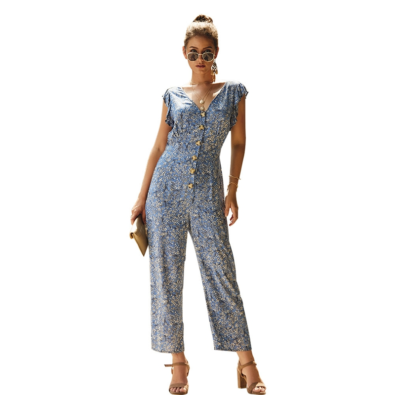2020 Summer Sexy V Neck Ruffle Jumpsuit Women Short Sleeve Casual Rompers Overalls Sexy Office Lady Print Long Pants Jumpsuits