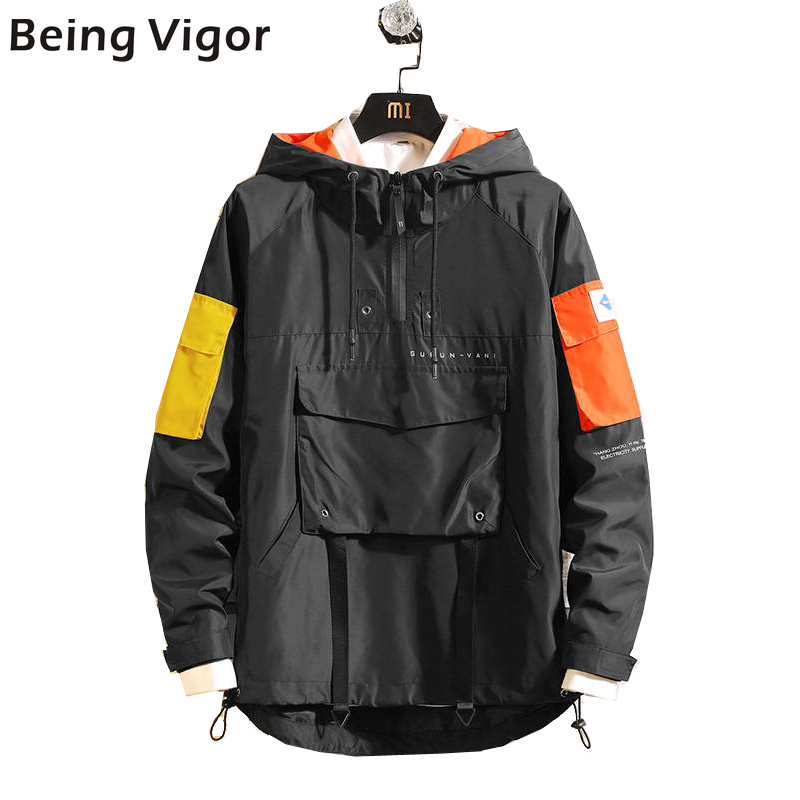 Mens Anorak Jackets 2019 Men Hip-Hop Outwear Autumn Fashion Hit Color Patchwork Casual Streetwear Male Jackette Outdoor Coat