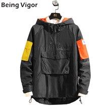Mens anorak jackets 2019 남성 힙합 아웃웨어 가을 패션 히트 컬러 패치 워크 캐주얼 streetwear 남성 jackette outdoor coat