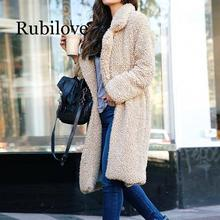 цены Rubilove Thicken Warm Fur Coat Long Sleeve Loose Casual Parka Jacket Outerwear Winter Women Faux Fur Long Overcoat Plus Size 3X