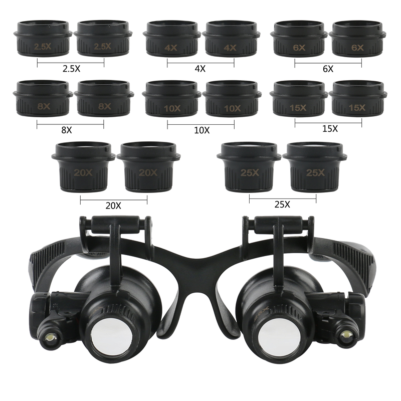 YASE-king Headband Glasses Magnifier with LED Light 8X 15X 23X Magnifying Glass for Watchmaker Jewelry Optical Lens Glass Magnifier Loupe