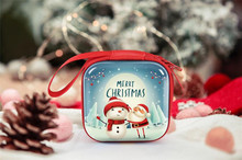 Cute Christmas Pattern Storage Bags Mini Elk Snowman Coin Earphone Candy Bag Portable Festival Gifts christmas baubles pattern candy drawstring storage bag
