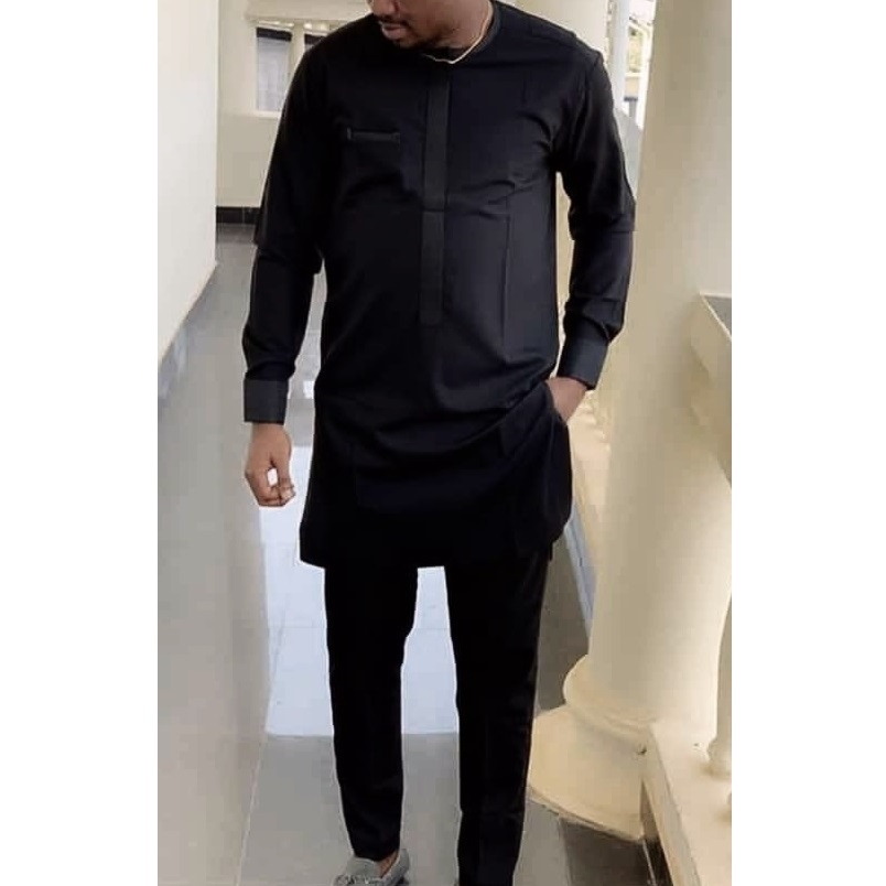 African Clothes Man Shirts With Pants Fashion Solid Black Tops+Trousers Custom Made Men's Outfits African Pant Set For Party