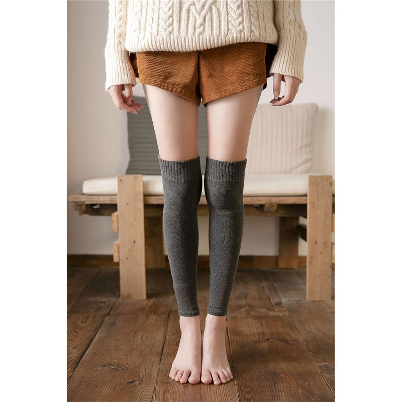 Womens Winter Over Knee High Footless Socks Ribbed Knit Looped Thicken Towel Lined Thermal Elastic Leg Warmer Stockings