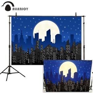 Image 1 - Allenjoy superhero photography background birthday party poster boy child building moon midnight star comics backdrop photophone