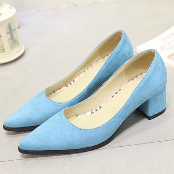 Casual niskie obcasy damskie buty eleganckie czerwone niebieskie obcasy buty kobieta Pointed Toe Party biurowe buty ślubne damskie tanie i dobre opinie ZOGEER podstawowe Kwadratowy obcas CN (pochodzenie) krowi zamsz Med (3 cm-5 cm) Dobrze pasuje do rozmiaru wybierz swój normalny rozmiar