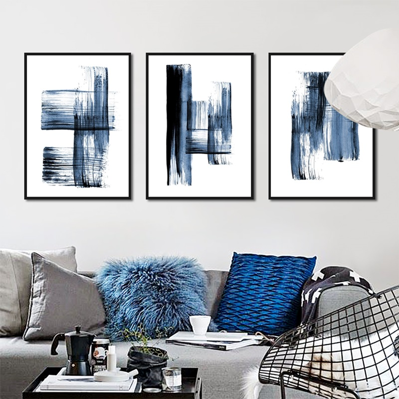Abstract Modern Minimalist Poster Blue Graffiti Casual Simple Fresh Print Canvas Picture For Living Room Bedroom Study Decor