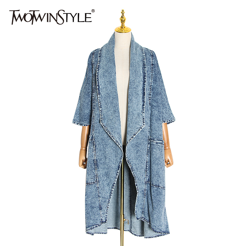 TWOTWINSTYLE Vintage Denim Women Windbreaker Lapel Collar Half Sleeve High Waist Trench Coats Female Fashion Clothing 2020 Tide