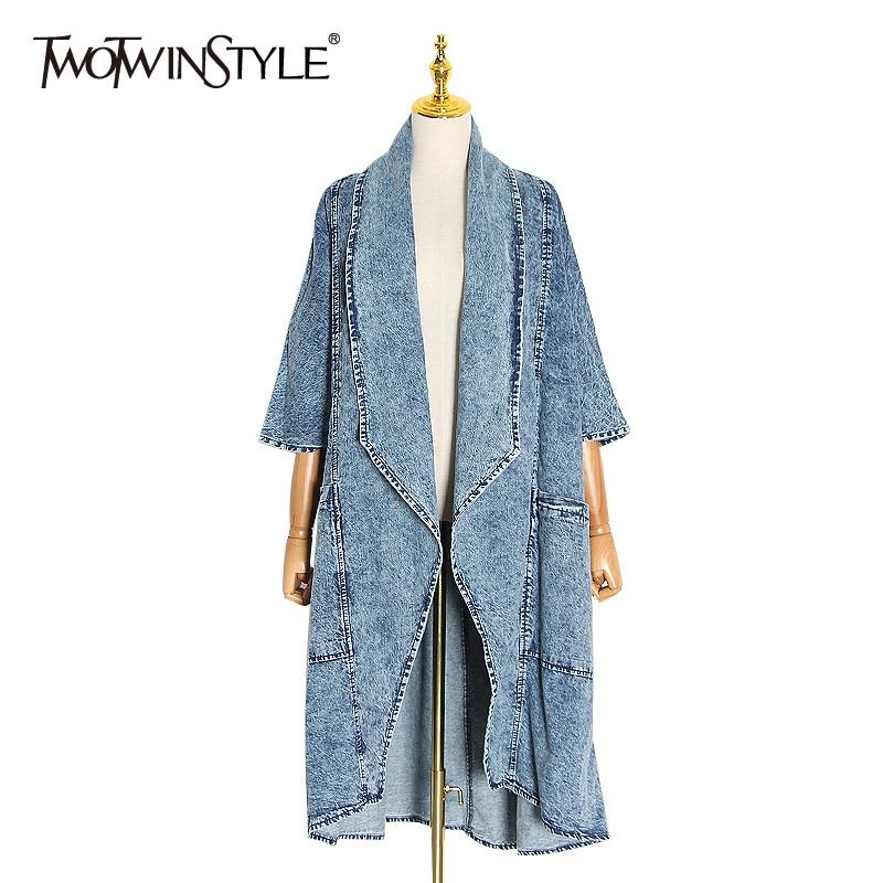 TWOTWINSTYLE Vintage Denim Women Windbreaker Lapel Collar Half Sleeve High Waist Trench Coats Female Fashion Clothing 2020 Tide