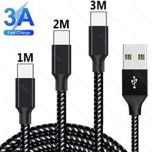 Cabo usb tipo c de 1m/2m/3m 3a, fio para carregamento rápido de celular redmi note 8t 8 7 pro k30 k20 pro 9v 12v 200cm 300cm 2 3 medidor longo