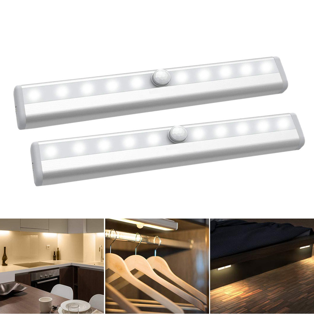 USB Rechargeable Or 4x AAA Battery Operated Motion Sensor Night Light 10 LED Wireless Sensor Cabinet Light Wall Night Lamp