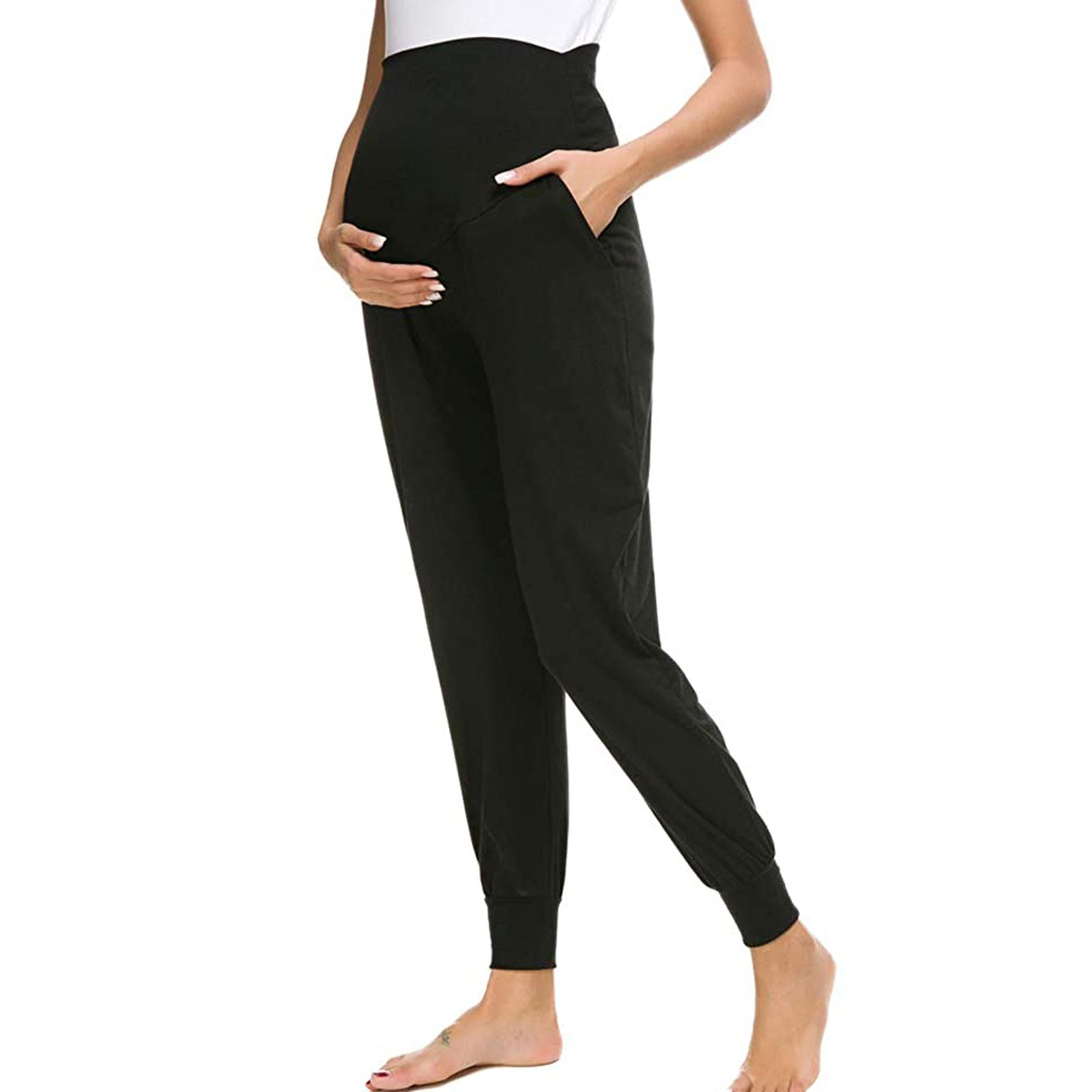 Women's Solid Color Maternity Pants With Pockets Soft Comfortable Pregnant Women Leggings Pregnancy Pants Maternity Clothing