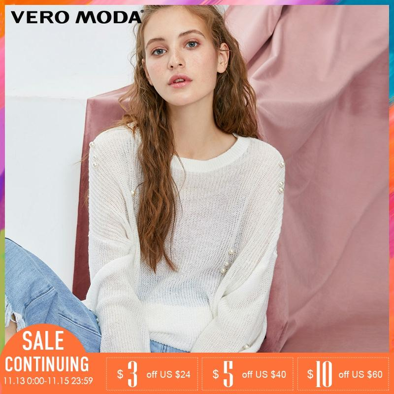 Vero Moda Winter Autumn Pearl Decoration Long Sleeve Sweater |318413523