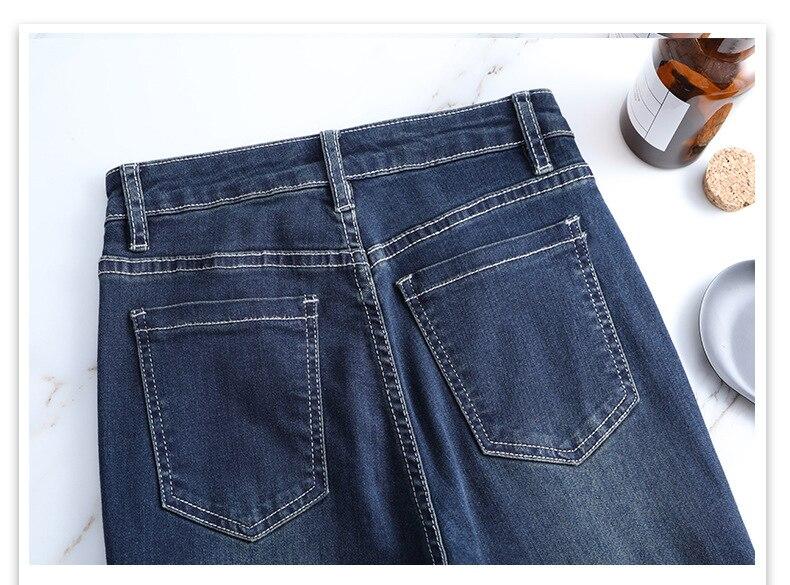 KSTUN FERZIGE Jeans Women High Waist Stretch Dark Blue Flared Pants Embroidery Hand Beads Bell Top Quality Mujer Jeans Plus Size 36 19