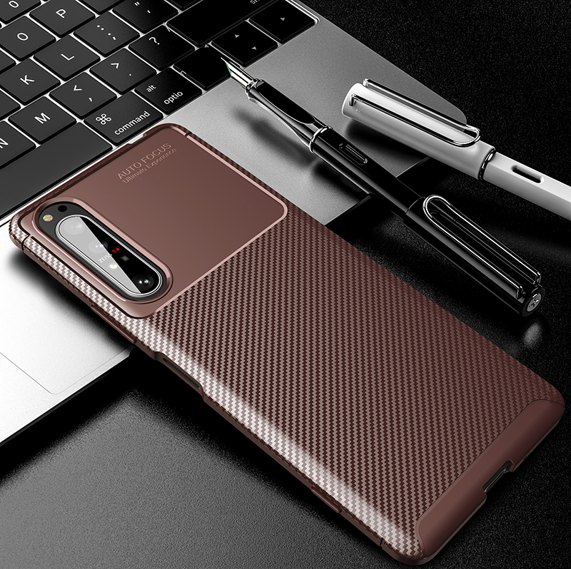 Silicone Protective Phone Case For Sony Xperia 5 II Carbon Fiber Soft TPU Cover Case For Sony Xperia 10 II 1 II Xperia 20 5 8 (11)
