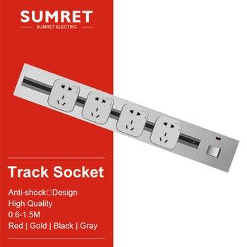 power track Socketbar electric embeded wall mount extender wall slide outlet kitchen Bedroom Desk table EU UK usb Adapters