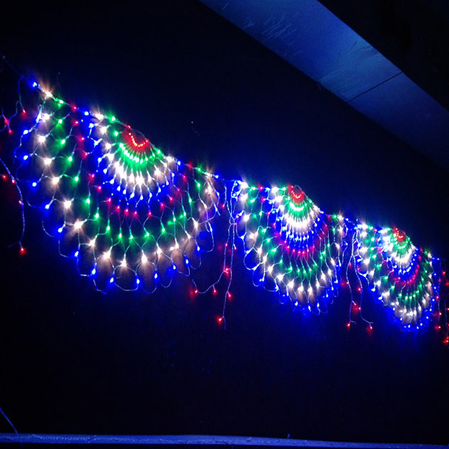Thrisdar 3M*0.5M 424LED LED Net Mesh Fairy String Light Outdoor Christmas Holiday Wedding Party Window Curtain Icicle Lights